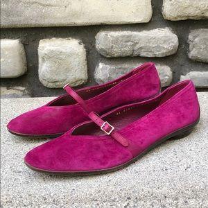 EUC Salvatore Ferragamo Hot Pink Suede Flats sz 10